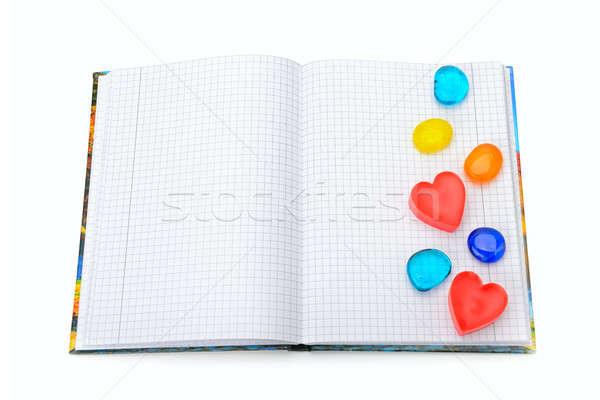 Notebook decoratie vorm harten geïsoleerd witte Stockfoto © alinamd