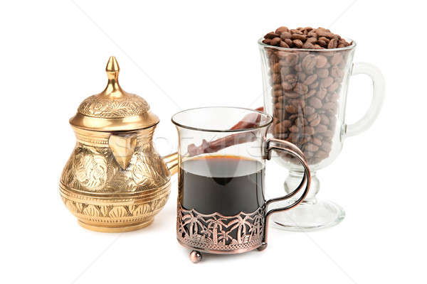 coffee pot and coffee beans isolated on white background Stock photo © alinamd