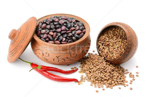 Beans and lentils isolated on white background Stock photo © alinamd