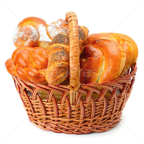 sweet rolls in basket isolated on white background Stock photo © alinamd