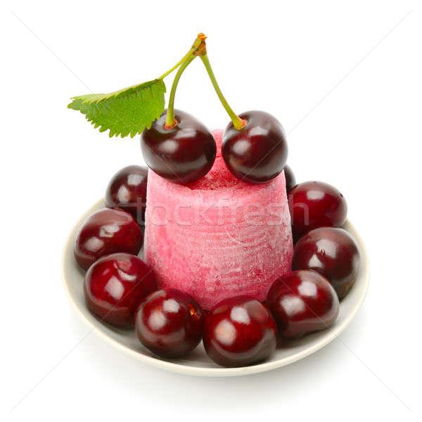 Fruit ice cream and cherry isolated on white Stock photo © alinamd