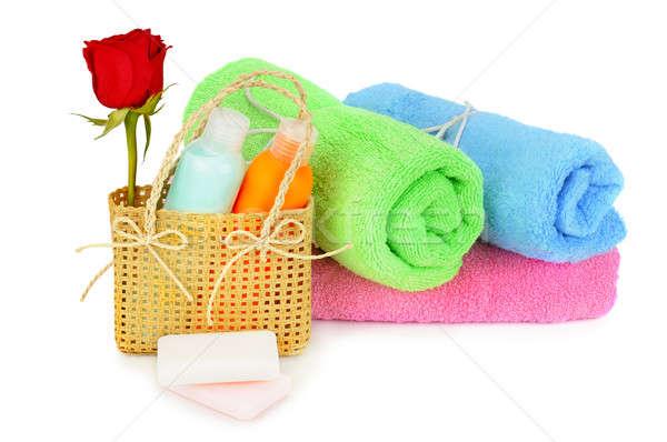 Handdoeken shampoo geïsoleerd witte achtergrond schoonheid Stockfoto © alinamd
