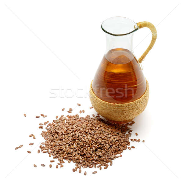 flax seeds and oil isolated on white background Stock photo © alinamd
