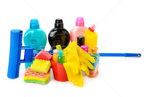 household chemicals, protective gloves and a mop isolated on whi Stock photo © alinamd