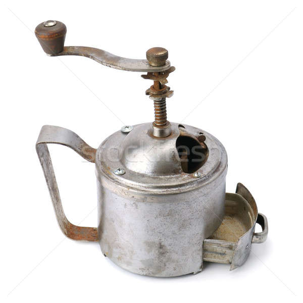 Eski el kahve öğütücü yalıtılmış beyaz Stok fotoğraf © alinamd