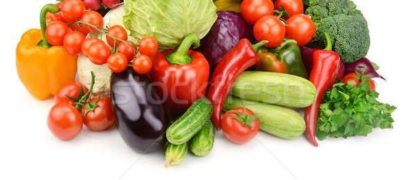 Ingesteld groenten geïsoleerd witte achtergrond groene Stockfoto © alinamd