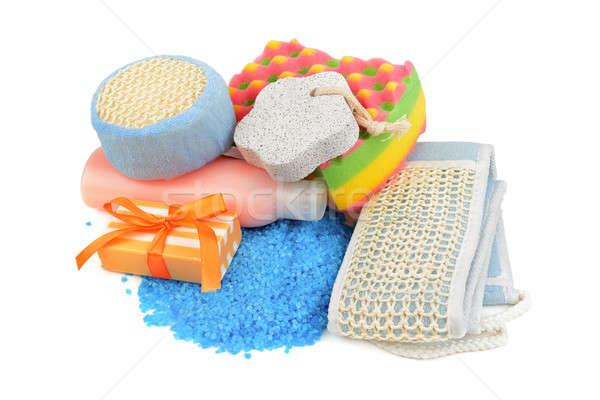 soaps and sponge isolated on white background Stock photo © alinamd