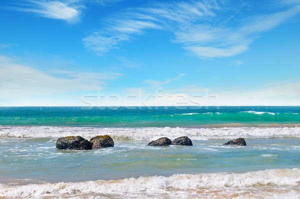 Océano pintoresco playa cielo azul cielo nubes Foto stock © alinamd