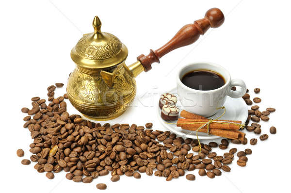 coffee beans, coffee pot and cup isolated on white background Stock photo © alinamd