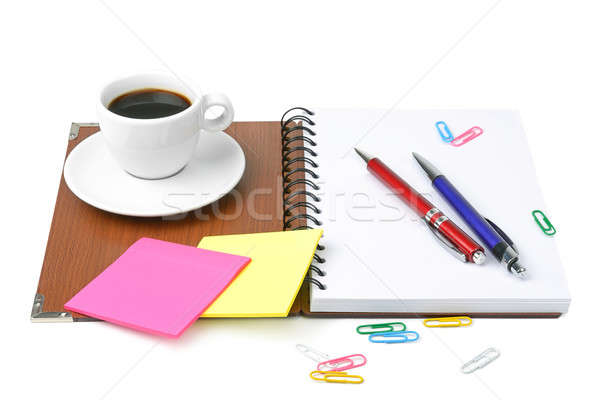 office supplies and coffee cup isolated on white background Stock photo © alinamd