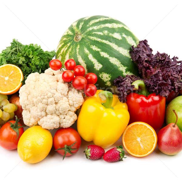Nuttig ingesteld vruchten groenten blad achtergrond Stockfoto © alinamd