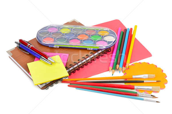 colored pencils, paints, notebooks and other stationery isolated Stock photo © alinamd