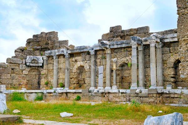Grieks kolommen kant Turkije hemel gebouw Stockfoto © alinamd