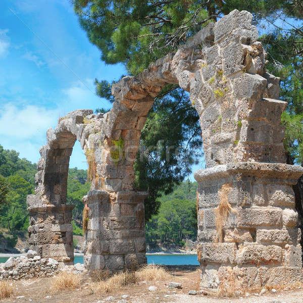 Ruinas antigua ciudad árbol verde azul Foto stock © alinamd