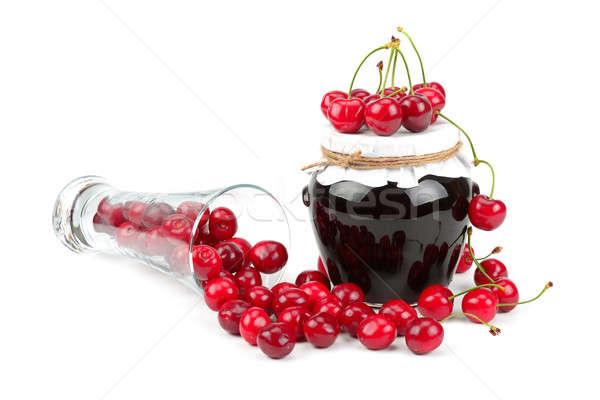 Cherry  marmalade and cherry fruit Stock photo © alinamd