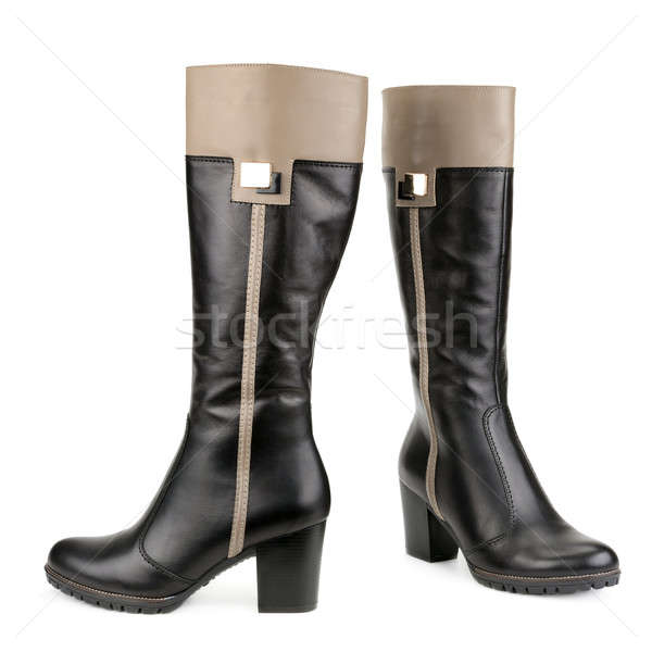 Foto stock: Elegante · botas · isolado · branco · mulher · fundo