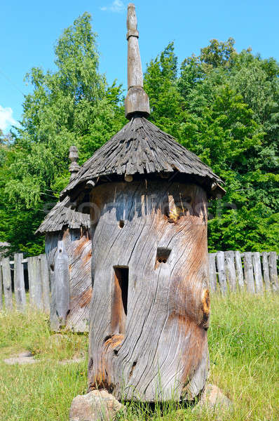Ancient beehive hollowed from a tree trunk Stock photo © alinamd