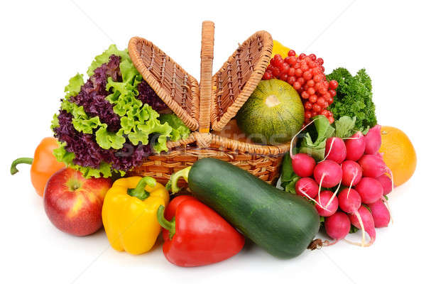 vegetables and fruits in a basket isolated on white background Stock photo © alinamd
