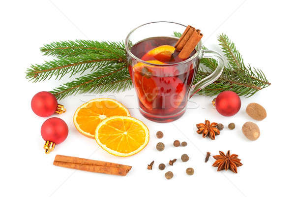 Sıcak kırmızı şarap yalıtılmış beyaz Noel Stok fotoğraf © alinamd