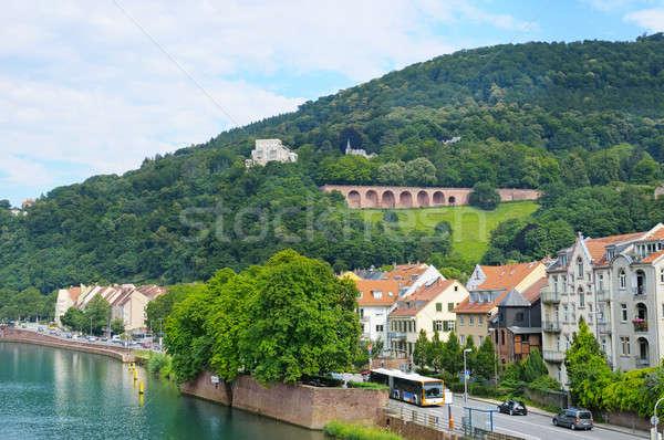Stock photo:  embankment city, mountain and sky
