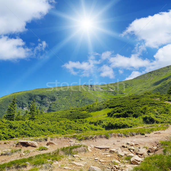 scenic mountains, blue sky and sun Stock photo © alinamd