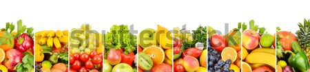 Panoramic collection fresh fruits isolated on white background. Stock photo © alinamd