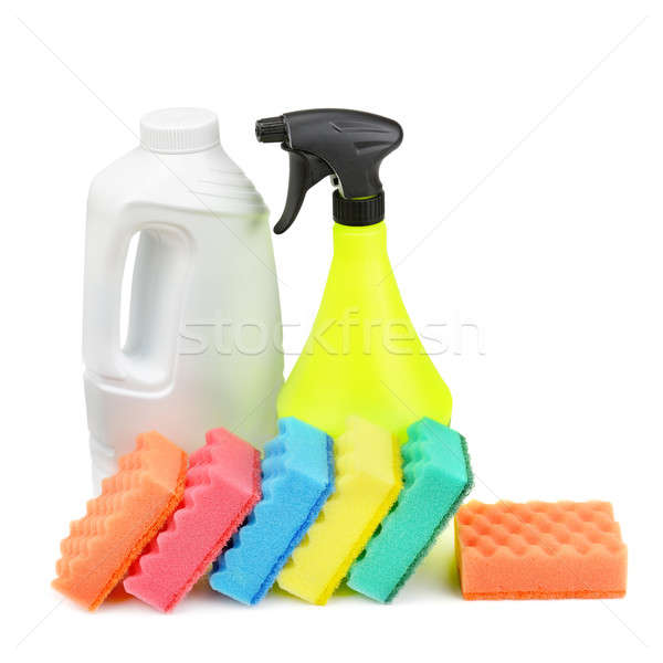 моющее средство губки изолированный белый дома работу Сток-фото © alinamd
