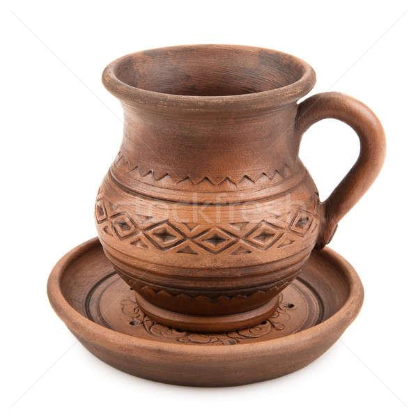 глина Кубок блюдце изолированный белый дизайна Сток-фото © alinamd