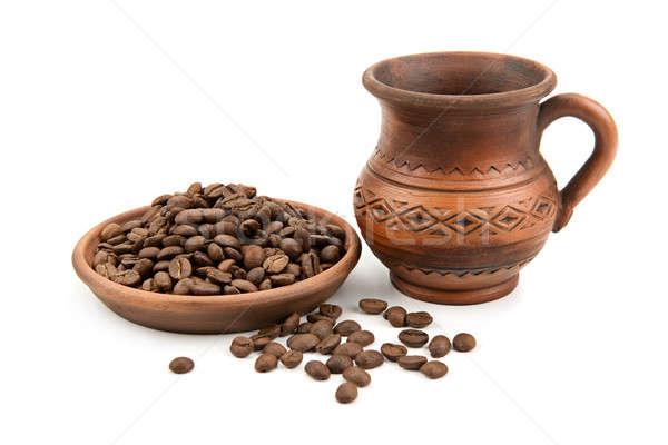 Cserépedények kávé izolált fehér terv háttér Stock fotó © alinamd