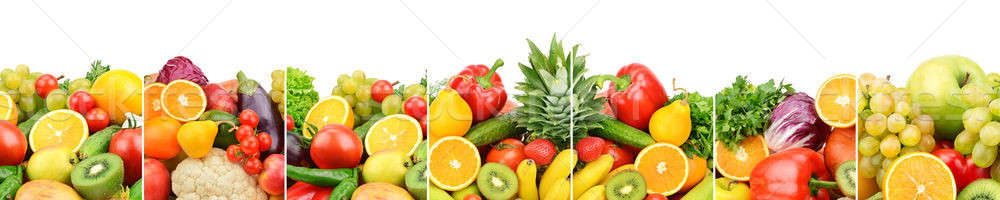 Panoramic collection fresh fruits and vegetables isolated on whi Stock photo © alinamd