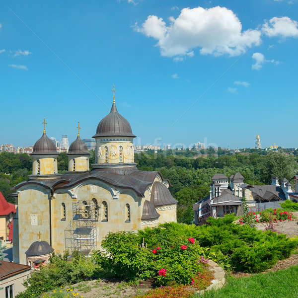 Orthodox church against the Pechersk district of Kiev Stock photo © alinamd