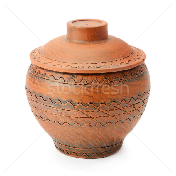 ceramic pot with a lid isolated on a white background Stock photo © alinamd