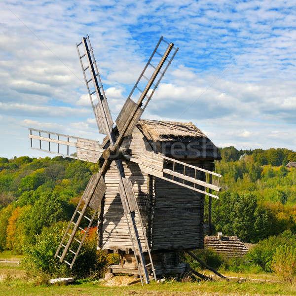 старые Windmill области небе трава Сток-фото © alinamd