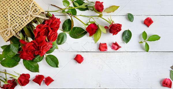 красные розы белый Top мнение цветы Сток-фото © alinamd