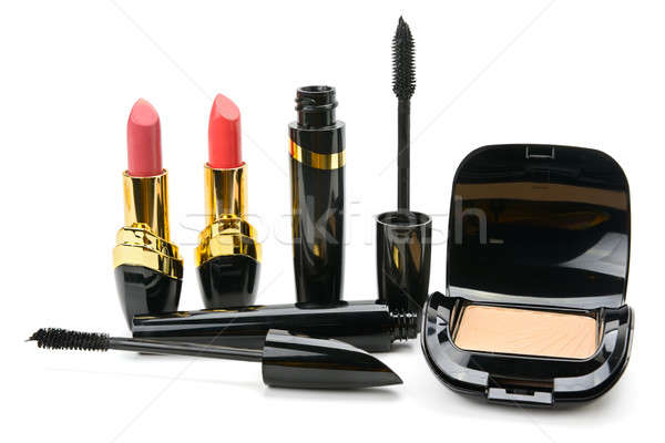 Ingesteld decoratief cosmetica poeder lippenstift mascara Stockfoto © alinamd