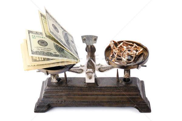 Schalen geld goud geïsoleerd witte teken Stockfoto © alinamd
