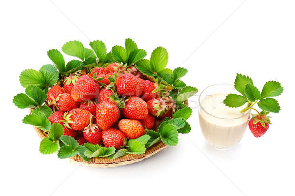 strawberries in a basket and berry smoothies isolated on white b Stock photo © alinamd