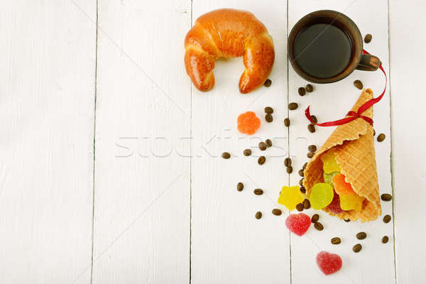 Cup of coffee, croissant, waffles and marmalade on wood white ba Stock photo © alinamd