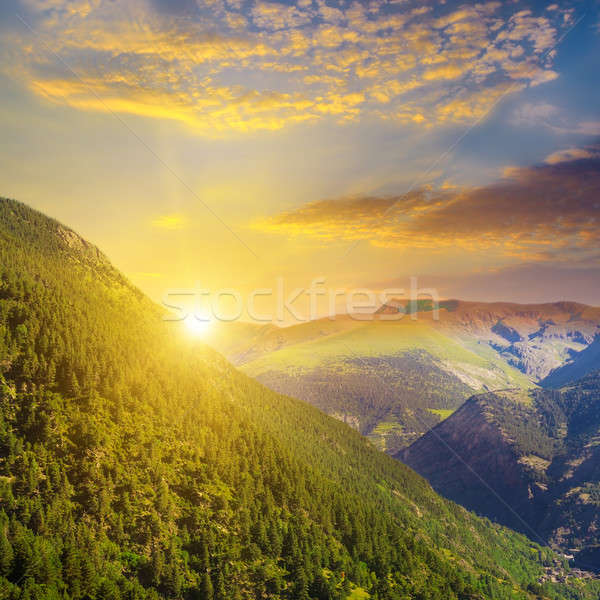 beautiful mountain landscape and sunrise Stock photo © alinamd