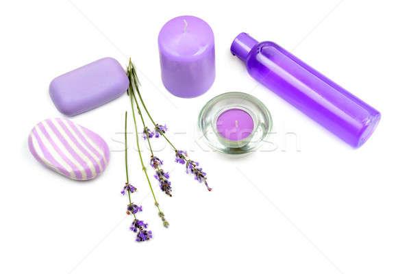Lavendel duftenden Kerzen Seife Shampoo isoliert Stock foto © alinamd