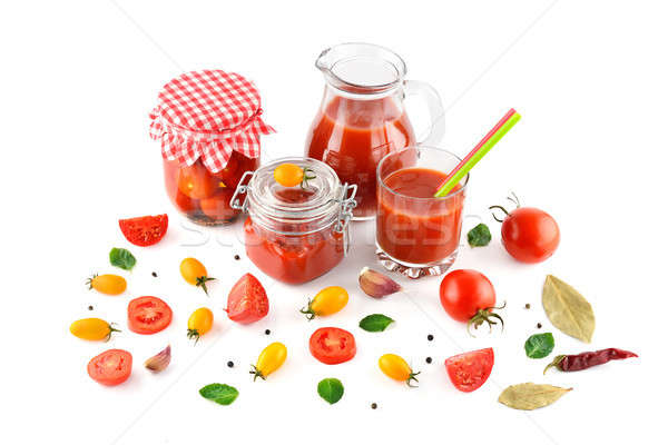 tomato juice, ketchup and tomato isolated on white Stock photo © alinamd