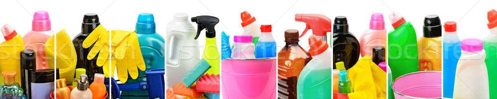 Ayarlamak ev kimyasallar kova temizlik panoramik Stok fotoğraf © alinamd