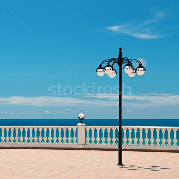 beautiful promenade with lanterns and white railings Stock photo © alinamd