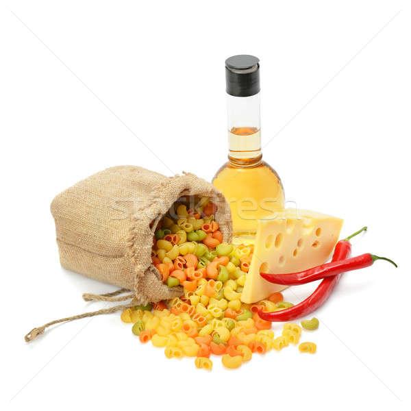 Makaróni sajt olívaolaj izolált fehér háttér Stock fotó © alinamd