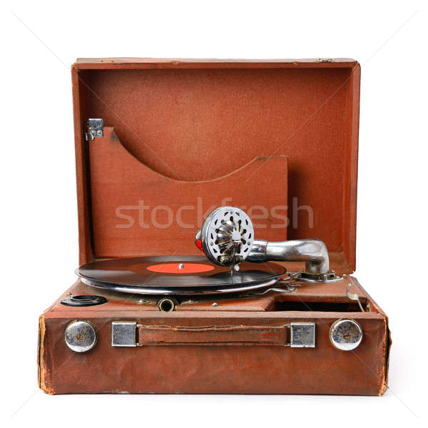 Edad gramófono vinilo registro aislado blanco Foto stock © alinamd
