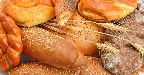 Bread, croissants, baguettes and other pastries. Stock photo © alinamd
