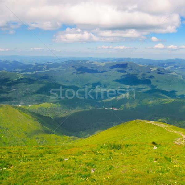 Mountain peaks of Carpathians and blue sky Stock photo © alinamd