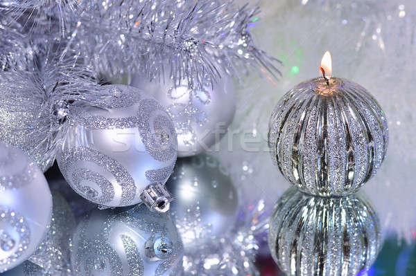Noel süslemeleri mum gümüş ayna Stok fotoğraf © AlisLuch