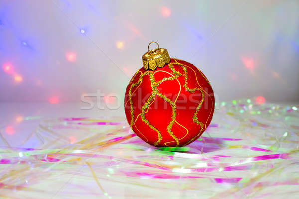 Red Christmas ball on the table Stock photo © AlisLuch