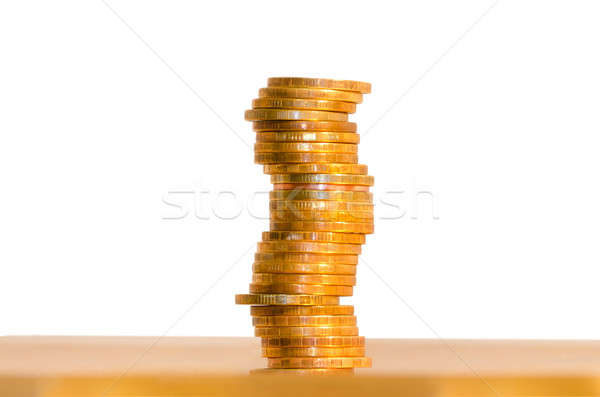 A stack of coins, isolated on white background Stock photo © AlisLuch